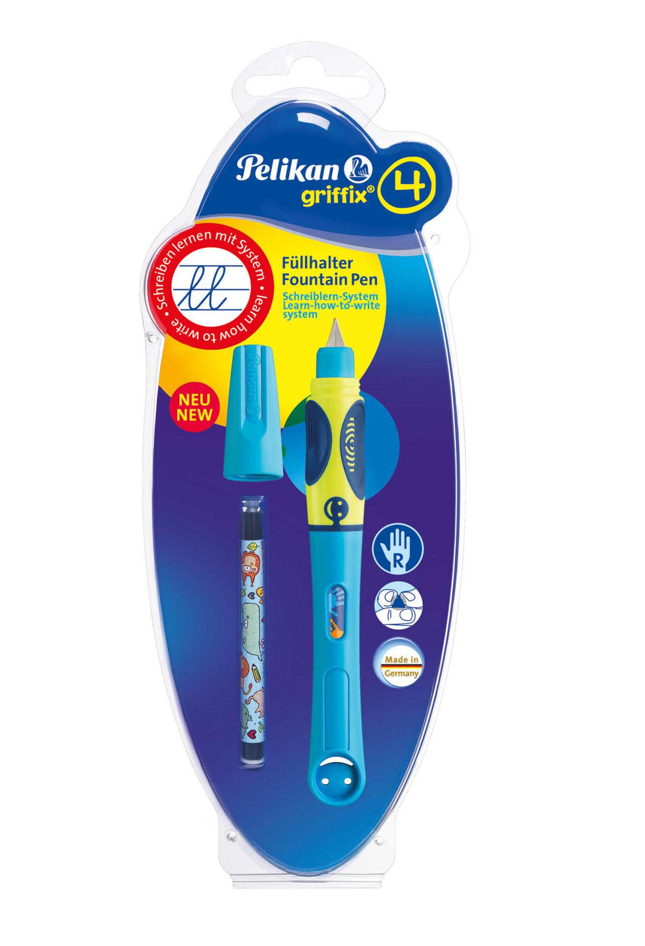 Obrázek Bombičkové pero pro praváky Griffix 4, neonové modré