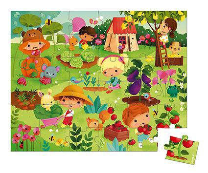 Obrázek Puzzle pro děti Zahrada Janod v kufříku 36 ks