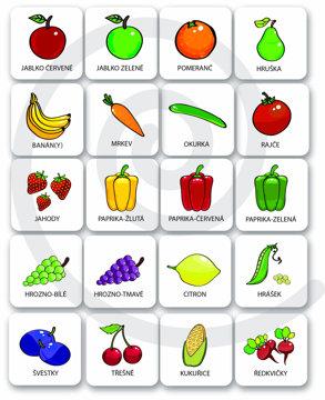 Obrázek Set 25 ks magnetických piktogramů – Zelenina a ovoce