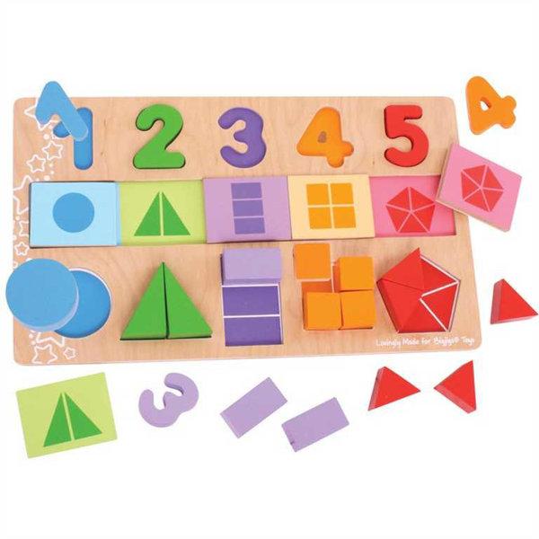 Obrázek Bigjigs Toys Didaktická deska Čísla, barvy, tvary