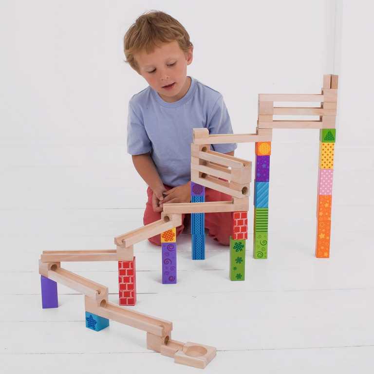 Obrázek Bigjigs Toys Dřevěná kuličková dráha barevná