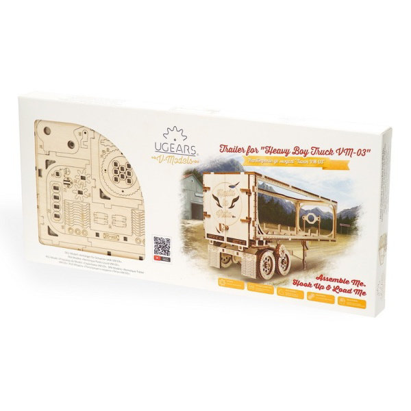 Obrázek Ugears 3D dřevěné mechanické puzzle Návěs pro tahač Heavy Boy