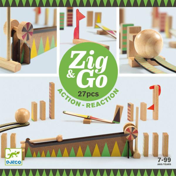Obrázek DJECO Dřevěná dráha Zig Go 27 dílků