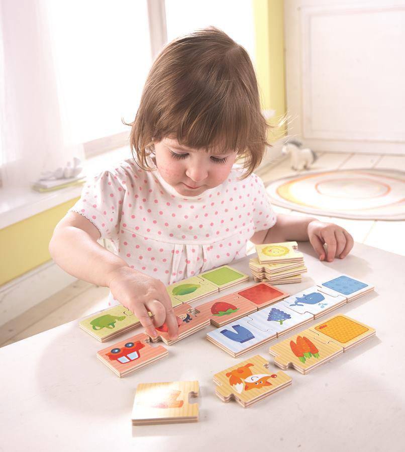 Obrázek Dřevěné puzzle na učení barev a přiřazování Haba